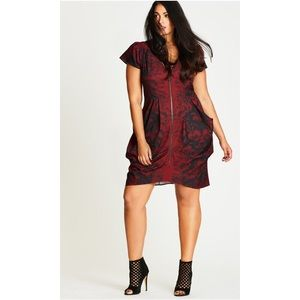 3b8b2033ce8a City Chic Sz S/16 Zip Front Tunic Dress Red Floral